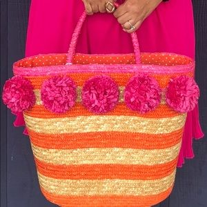 Mud Pie Bags - Beautiful Large #Straw Bag Pink, Orange, and Tan